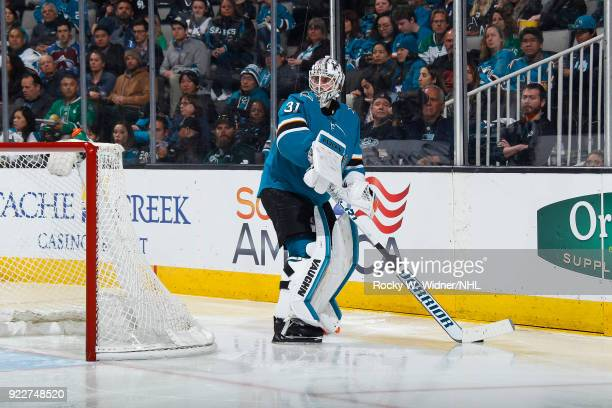 Martin Jones of the San Jose Sharks controls the puck against the Dallas Stars at SAP Center on February 18 2018 in San Jose California