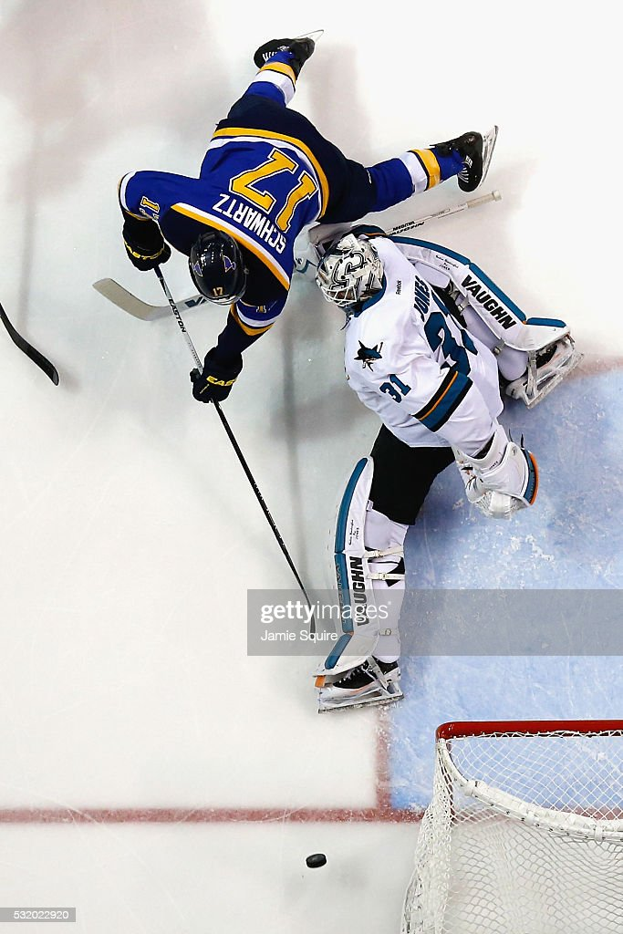 Martin Jones #31 of the San Jose Sharks defends against Jaden Schwartz #17 of the St. Louis Blues during the second period in Game Two of the Western Conference Final during the 2016 NHL Stanley Cup Playoffs at Scottrade Center on May 17, 2016 in St Louis, Missouri.