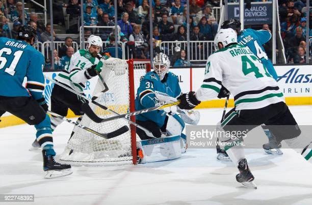 Martin Jones of the San Jose Sharks defends the net against the Dallas Stars at SAP Center on February 18 2018 in San Jose California