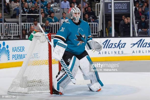 Martin Jones of the San Jose Sharks defends the net againt the Vegas Golden Knights at SAP Center on February 8 2018 in San Jose California