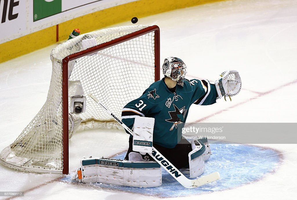 Martin Jones #31 of the San Jose Sharks deflects the puck away from his goal against the Nashville Predators in Game Two of the Western Conference Second Round during the 2016 NHL Stanley Cup Playoffs. at SAP Center on May 1, 2016 in San Jose, California. The Sharks won the game 3-2.