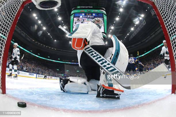 Martin Jones of the San Jose Sharks gives up a goal scored by Ivan Barbashev of the St Louis Blues during the first period in Game Four of the...