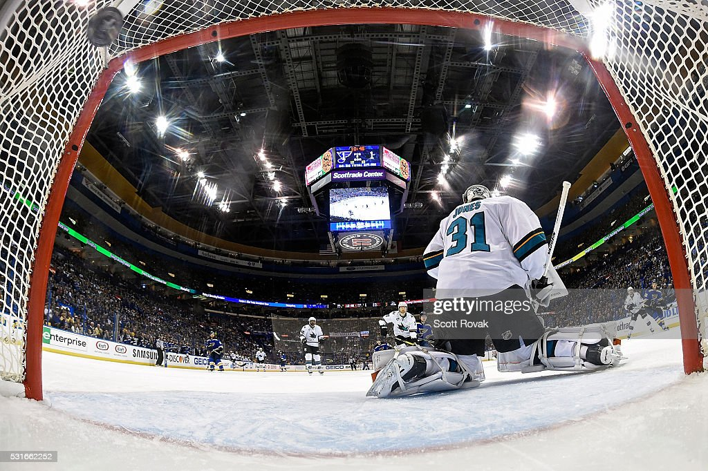 Martin Jones #31 of the San Jose Sharks gives up a goal to Jori Lehtera #12 of the St. Louis Blues in Game One of the Western Conference Final during the 2016 NHL Stanley Cup Playoffs at the Scottrade Center on May 15, 2016 in St. Louis, Missouri.