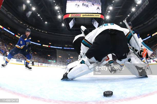 Martin Jones of the San Jose Sharks gives up a goal to the San Jose Sharks during the first period in Game Four of the Western Conference Finals...
