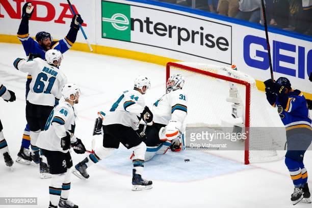 Martin Jones of the San Jose Sharks gives up a goal to the St. Louis Blues during the first period in Game Four of the Western Conference Finals...