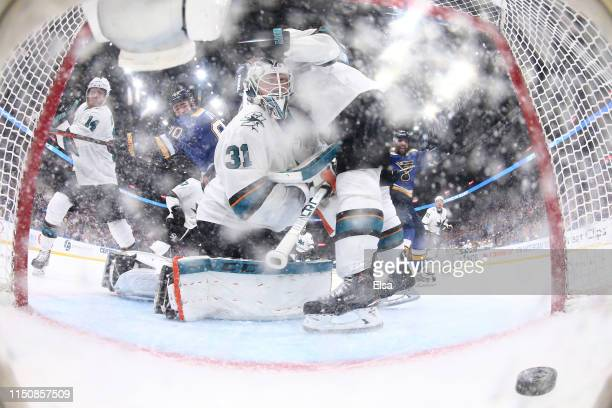 Martin Jones of the San Jose Sharks gives up a goal to Tyler Bozak of the St Louis Blues during the third period in Game Six of the Western...
