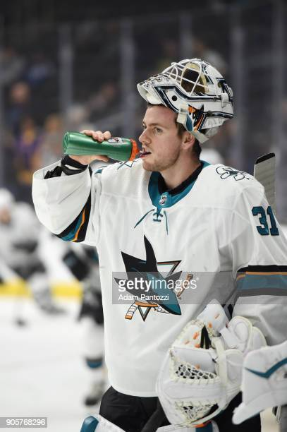 Martin Jones of the San Jose Sharks is seen before a game against the Los Angeles Kings at STAPLES Center on January 15 2018 in Los Angeles California