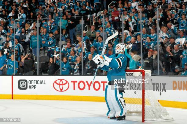 Martin Jones of the San Jose Sharks looks on in Game Three of the Western Conference First Round against the Anaheim Ducks during the 2018 NHL...