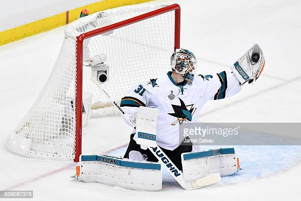 Martin Jones of the San Jose Sharks makes a glove save during the second period against the Pittsburgh Penguins in Game Five of the 2016 NHL Stanley...