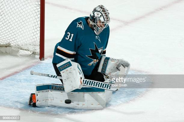 Martin Jones of the San Jose Sharks makes a pad save in Game Six of the Western Conference Second Round against the Vegas Golden Knights during the...