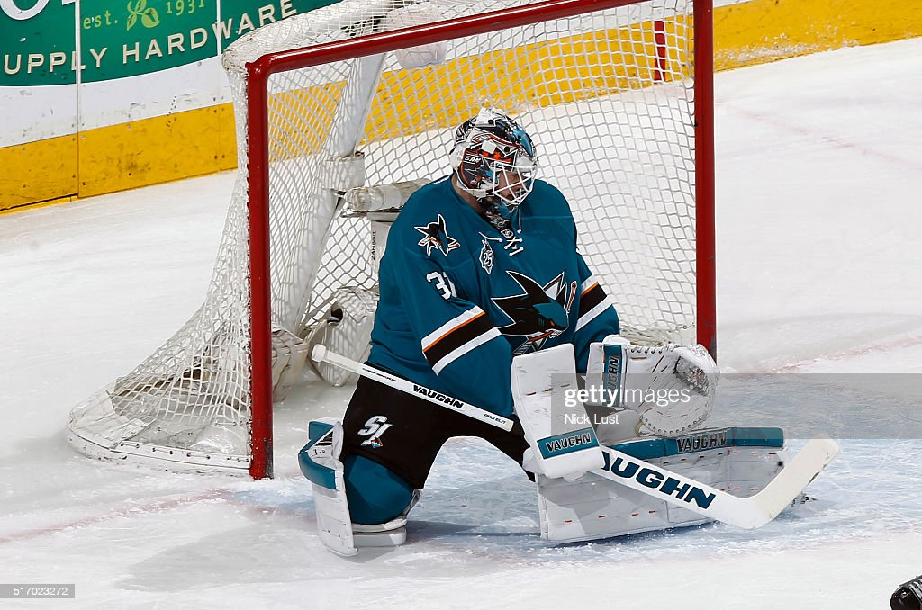 Martin Jones #31 of the San Jose Sharks makes a quick reaction save against the St. Louis Blues during a NHL game at the SAP Center at San Jose on March 22, 2016 in San Jose, California.