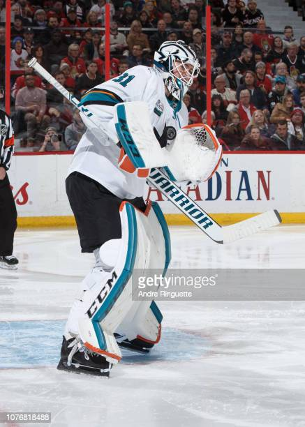 Martin Jones of the San Jose Sharks makes a save against the Ottawa Senators at Canadian Tire Centre on December 1 2018 in Ottawa Ontario Canada