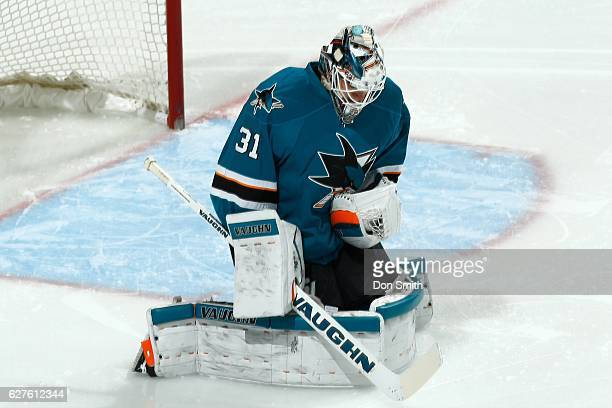 Martin Jones of the San Jose Sharks makes a save during a NHL game against the Arizona Coyotes at SAP Center at San Jose on November 29, 2016 in San...