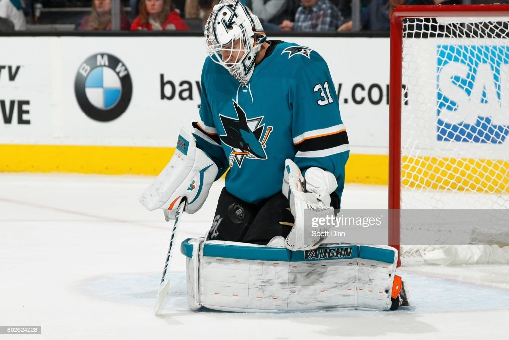 Martin Jones #31 of the San Jose Sharks makes a save during a NHL game against the Montreal Canadiens at SAP Center on October 17, 2017 in San Jose, California.