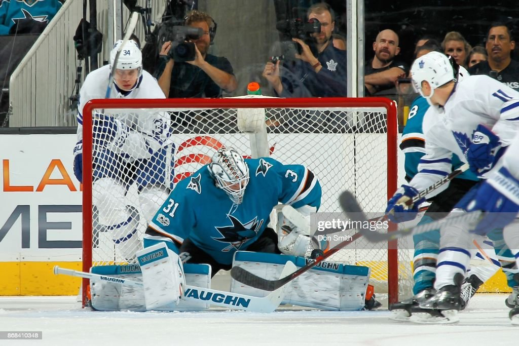 Martin Jones #31 of the San Jose Sharks makes a save during a NHL game against the Toronto Maple Leafs at SAP Center on October 30, 2017 in San Jose, California.