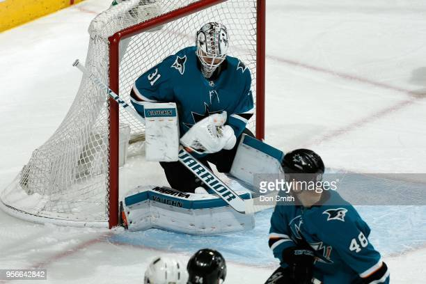 Martin Jones of the San Jose Sharks makes a save in Game Six of the Western Conference Second Round against the Vegas Golden Knights during the 2018...