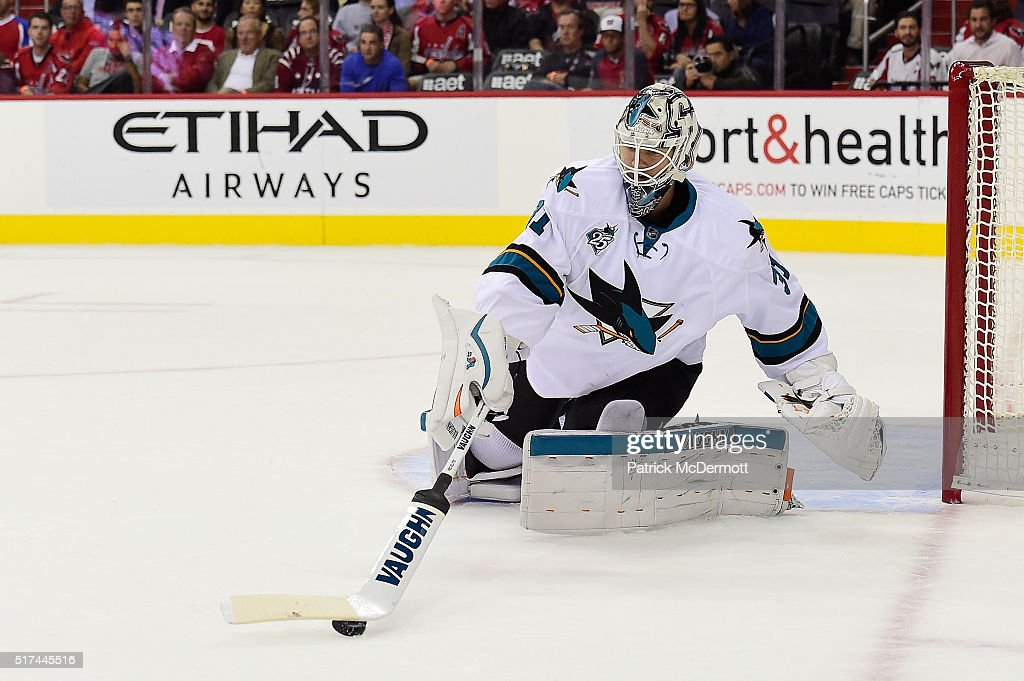 Martin Jones #31 of the San Jose Sharks makes a save in the first period during an NHL game against the Washington Capitals at Verizon Center on October 13, 2015 in Washington, DC.