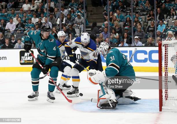 Martin Jones of the San Jose Sharks makes a save on a shot by Ivan Barbashev of the St Louis Blues in Game Two of the Western Conference Final during...