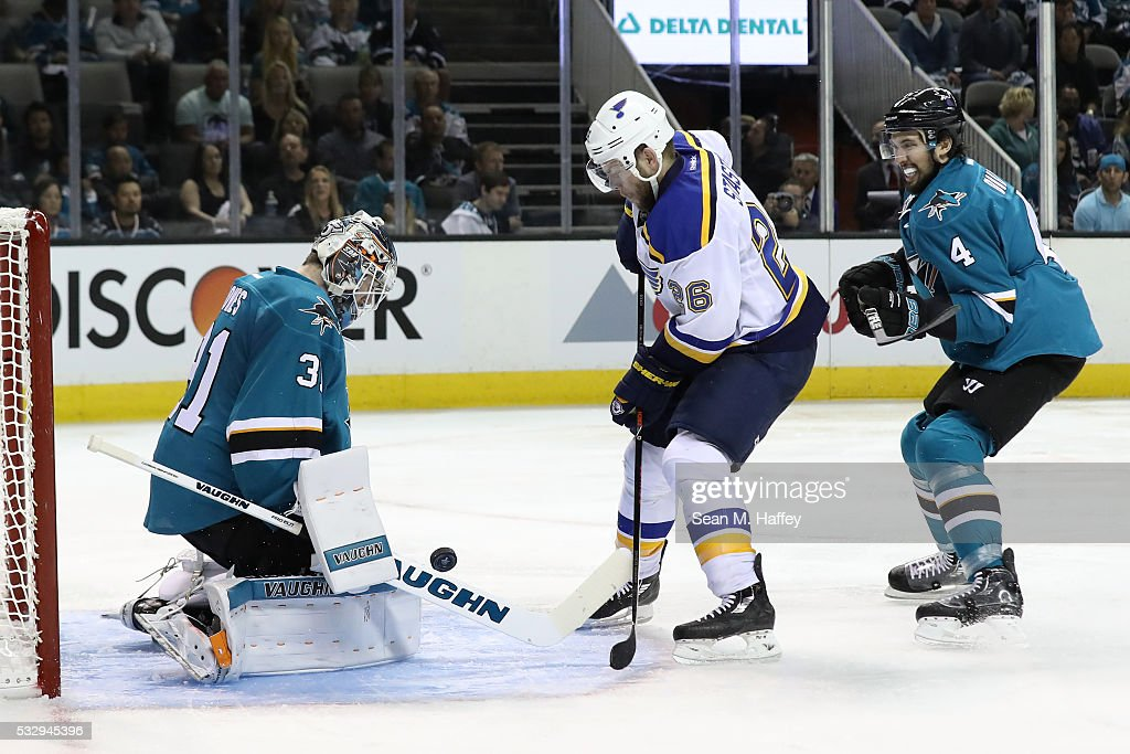 Martin Jones #31 of the San Jose Sharks makes a save on a shot by Kyle Brodziak #28 of the St. Louis Blues in game three of the Western Conference Finals during the 2016 NHL Stanley Cup Playoffs at SAP Center on May 19, 2016 in San Jose, California.
