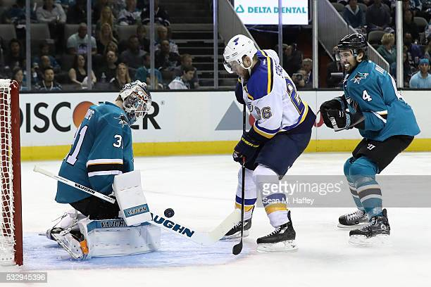 Martin Jones of the San Jose Sharks makes a save on a shot by Kyle Brodziak of the St Louis Blues in game three of the Western Conference Finals...