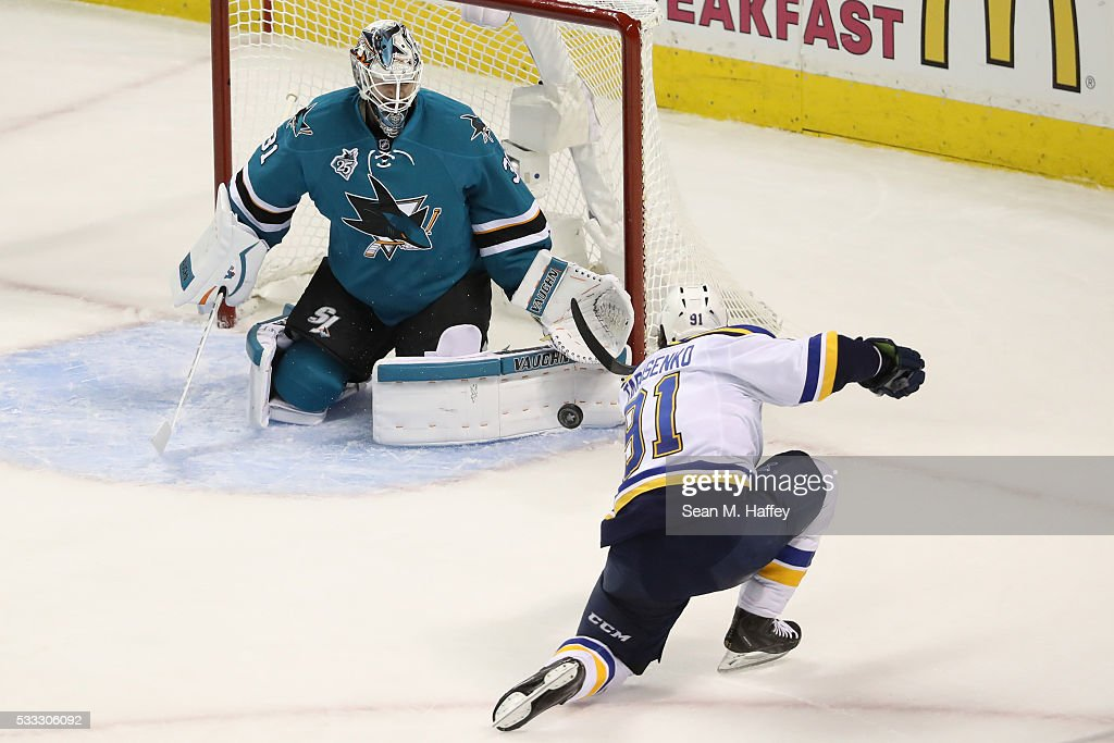 Martin Jones #31 of the San Jose Sharks makes a save on a shot by Vladimir Tarasenko #91 of the St. Louis Blues in game four of the Western Conference Finals during the 2016 NHL Stanley Cup Playoffs at SAP Center on May 21, 2016 in San Jose, California.