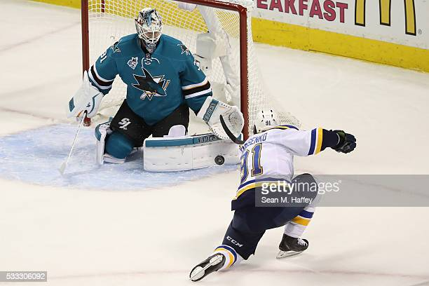 Martin Jones of the San Jose Sharks makes a save on a shot by Vladimir Tarasenko of the St Louis Blues in game four of the Western Conference Finals...