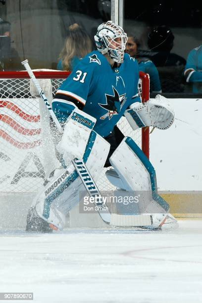 Martin Jones of the San Jose Sharks protects the net during a NHL game against the Arizona Coyotes at SAP Center on January 13 2018 in San Jose...