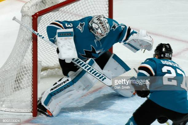 Martin Jones of the San Jose Sharks protects the net during a NHL game against the Dallas Stars at SAP Center on February 18 2018 in San Jose...