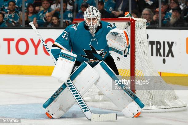 Martin Jones of the San Jose Sharks protects the net in Game Three of the Western Conference First Round against the Anaheim Ducks during the 2018...