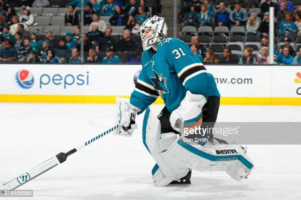 Martin Jones of the San Jose Sharks skates during a NHL game against the Arizona Coyotes at SAP Center on February 13 2018 in San Jose California