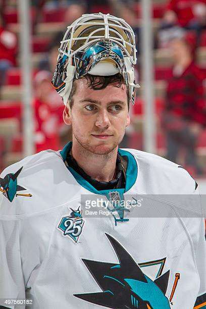 Martin Jones of the San Jose Sharks skates off the ice after an NHL game against the Detroit Red Wings at Joe Louis Arena on November 13 2015 in...