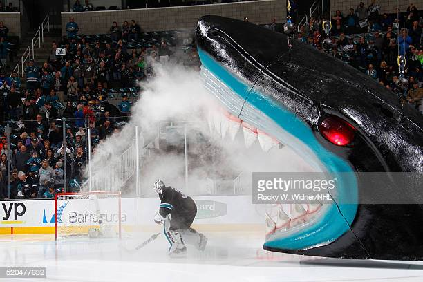 Martin Jones of the San Jose Sharks skates out from the shark's head during player introductions against the Vancouver Canucks at SAP Center on March...