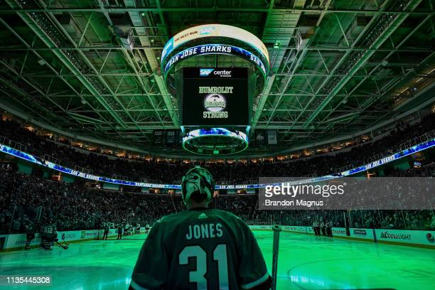 Martin Jones of the San Jose Sharks stands for a moment of silence for the Humboldt Broncos before the game against the Colorado Avalanche at SAP...