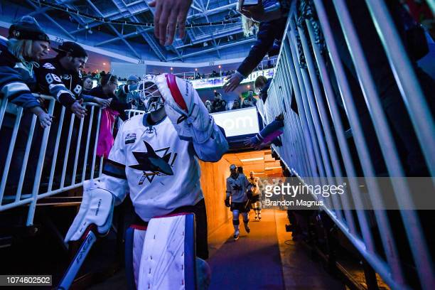 Martin Jones of the San Jose Sharks takes the ice against the Los Angeles Kings at SAP Center on December 22 2018 in San Jose California