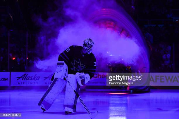 Martin Jones of the San Jose Sharks takes the ice before the game against the Toronto Maple Leafs at SAP Center on November 15, 2018 in San Jose,...