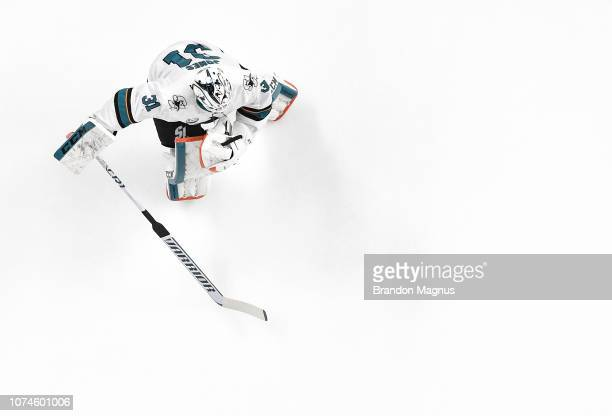 Martin Jones of the San Jose Sharks taking the ice for warmups against the Los Angeles Kings at SAP Center on December 22 2018 in San Jose California