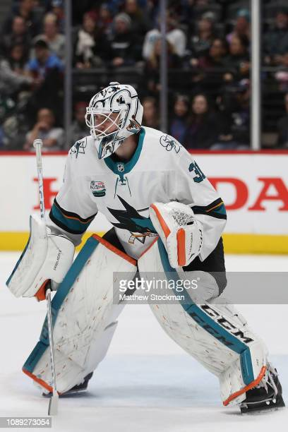 Martin Jones of the San Jose Sharks tends goal against the Colorado Avalanche at the Pepsi Center on January 02 2019 in Denver Colorado