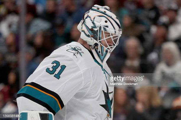 Martin Jones of the San Jose Sharks tends goal against the Colorado Avalanche in the second period at the Pepsi Center on January 16 2020 in Denver...