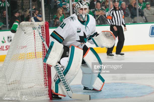 Martin Jones of the San Jose Sharks tends goal against the Dallas Stars at the American Airlines Center on December 7 2018 in Dallas Texas