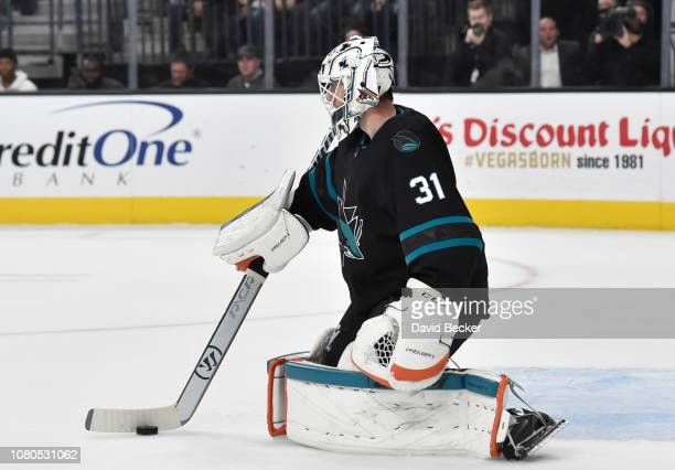 Martin Jones of the San Jose Sharks tends goal during the first period against the Vegas Golden Knights at TMobile Arena on January 10 2019 in Las...