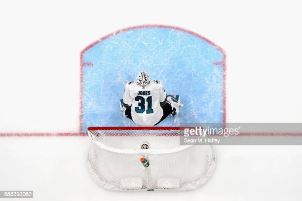 Martin Jones of the San Jose Sharks tends goal during the third period of a preseason game against the Anaheim Ducks at Honda Center on September 28...