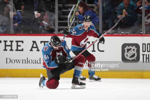 Martin Kaut of the Colorado Avalanche celebrates after scoring his first career NHL goal against the Buffalo Sabres at Pepsi Center on February 26...