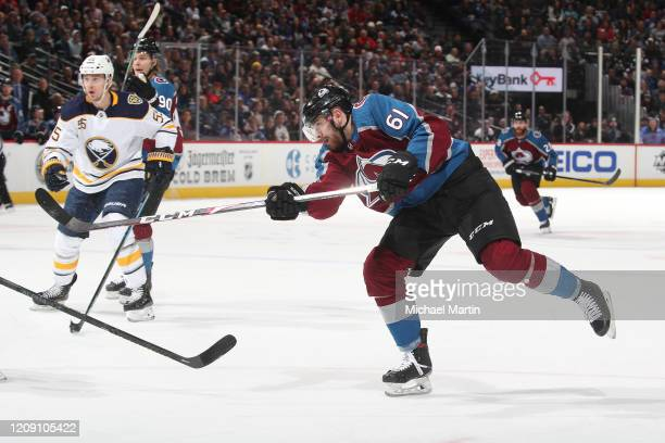 Martin Kaut of the Colorado Avalanche shoots against the Buffalo Sabres at Pepsi Center on February 26 2020 in Denver Colorado