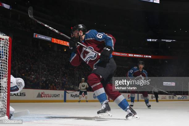 Martin Kaut of the Colorado Avalanche skates against the Buffalo Sabres at Pepsi Center on February 26 2020 in Denver Colorado The Avalanche defeated...