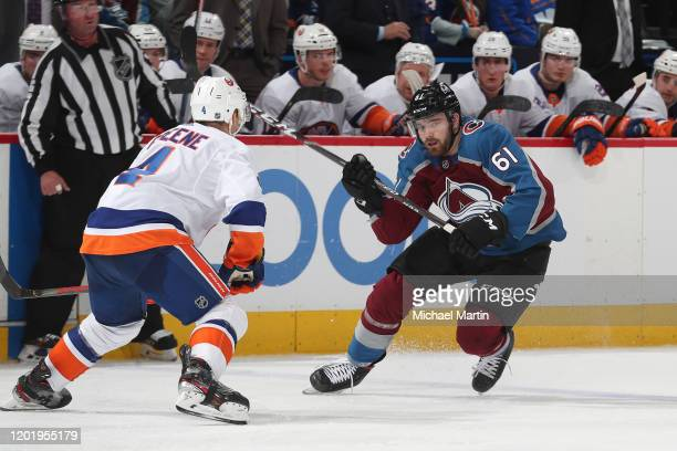 Martin Kaut of the Colorado Avalanche skates in his first NHL game against Andy Greene of the New York Islanders at Pepsi Center on February 19 2020...