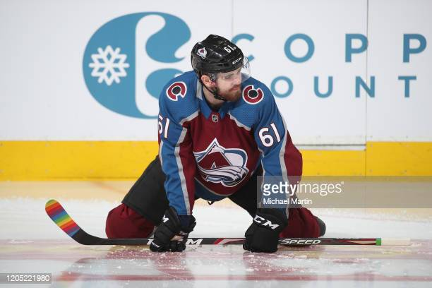 Martin Kaut of the Colorado Avalanche stretches during warm ups prior to the game against the Anaheim Ducks at Pepsi Center on March 04 2020 in...
