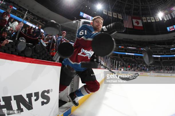 Martin Kaut of the Colorado Avalanche takes to the ice prior to his first NHL game against the New York Islanders at Pepsi Center on February 19 2020...