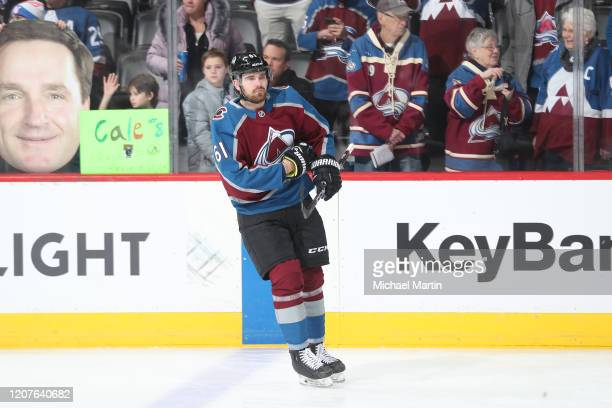 Martin Kaut of the Colorado Avalanche warms up prior to his first NHL game against the New York Islanders at Pepsi Center on February 19 2020 in...
