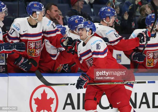 Martin Kaut of the Czech Republic celebrates his goal against Russia during the third period at KeyBank Center on December 26 2017 in Buffalo New...