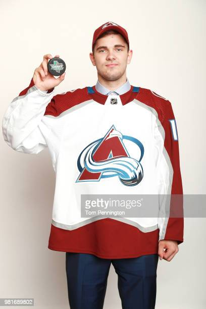 Martin Kaut poses after being selected sixteenth overall by the Colorado Avalancheduring the first round of the 2018 NHL Draft at American Airlines...